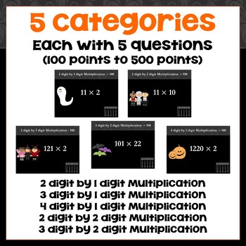 Halloween Multiplication Game - Similar to Jeopardy