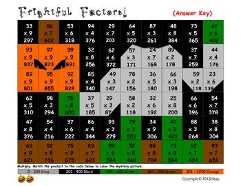 Halloween Multiplication Hidden Picture, 3 levels