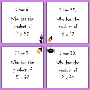 Halloween Multiplication I Have, Who Has Game (Set 1)