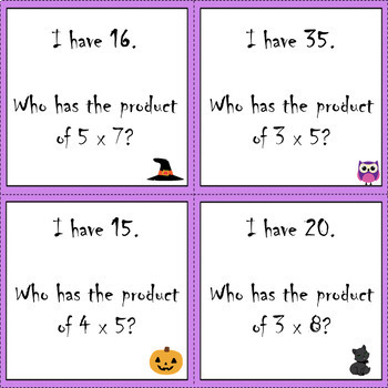 Halloween Multiplication I Have, Who Has Game (Set 2)