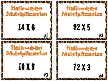 Halloween Multiplication Intermediate/  2-Digit by 1-Digit