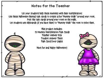 Halloween Multiplication Mummies Task Cards
