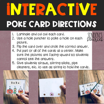 Halloween Multiplication Poke Cards Task Cards