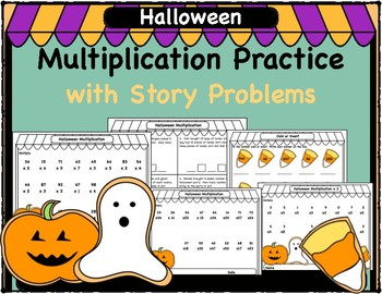 Halloween Multiplication Practice with Story Problems