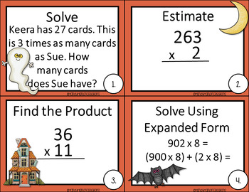 Halloween Go Math Chapter 2 4th Grade Task Cards
