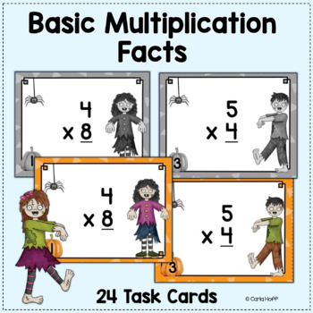 Halloween Multiplication Task Cards  - Single and Multiple Digit Numbers