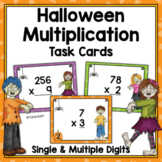 Halloween Multiplication Task Cards  - Single and Multiple Digit Numbers