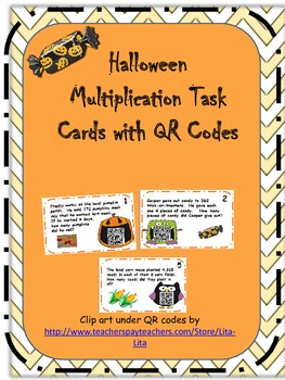Halloween Multiplication Task Cards with QR Codes