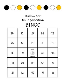 Halloween Multiplication Word Problem Task Card Bingo
