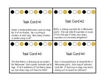 Halloween Multiplication Word Problem Task Card Bingo