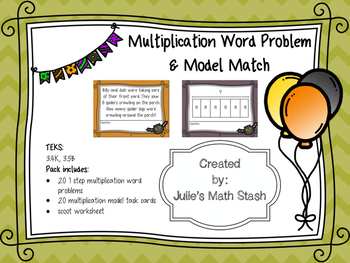 Halloween Multiplication Word Problem and Model Scoot