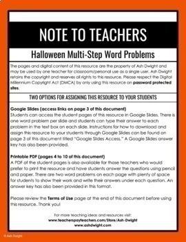 Halloween Multiplication Word Problems