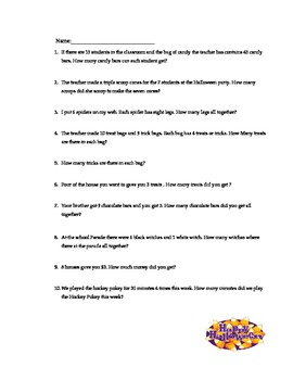 Halloween Multiplication Word Problems 3rd grade