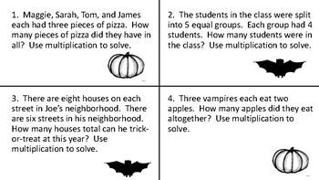 Halloween Multiplication Word Problems