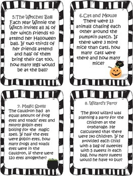 Halloween Multiplication Word Problems Task Cards