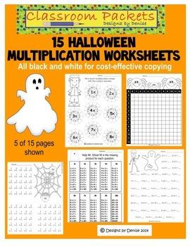 Halloween Multiplication Worksheet Packet