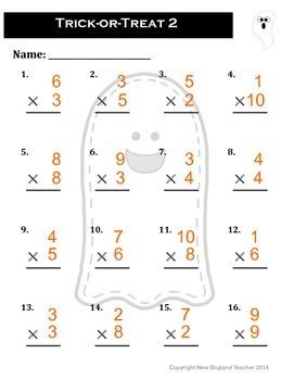 Halloween Multiplication Worksheet Packet - Set of 4 Worksheets
