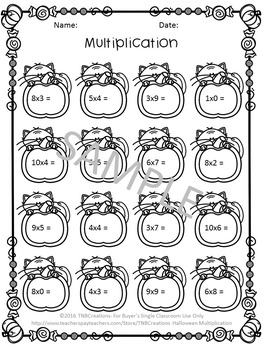 halloween multiplication worksheets by tnbcreations  tpt halloween multiplication worksheets