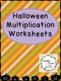 Halloween Multiplication Worksheets FREEBIE