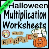 Halloween Multiplication Worksheets with Riddles - 1 Digit Times 2 Digits