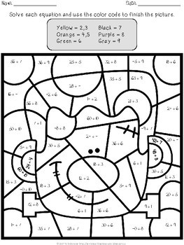 Halloween Multiplication and Division Color by Number by ...
