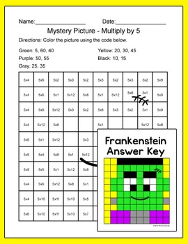 Halloween Math Multiplication and Division Mystery Pictures: Zombie, Vampire
