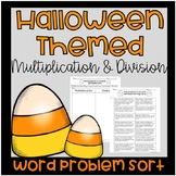 Halloween Multiplication and Division Word Problem Sort