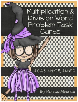 Halloween Multiplication and Division Word Problem Task Cards