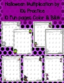 Halloween Multiplication by 10s 10 Times in Color & Black & White Super Cute!!