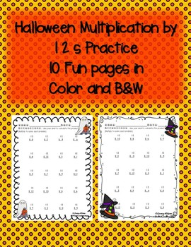 Halloween Multiplication by 12s 12 Times in Color & Black & White Soooo Cute!!
