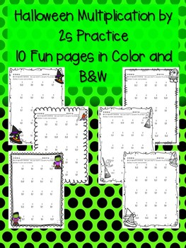 Halloween Multiplication by 2s 2 Times in Color and Black and White Soooo Cute!!