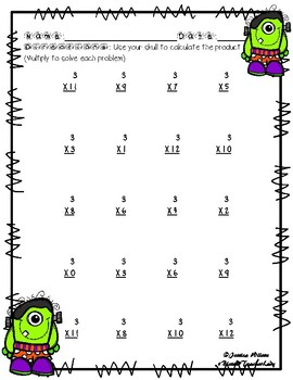 Halloween Multiplication by 3s 3 Times in Color and Black and White