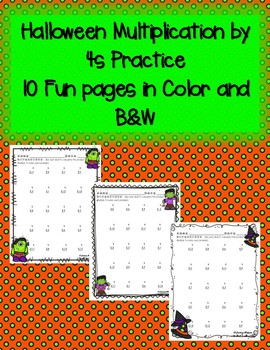 Halloween Multiplication by 4s 4 Times in Color and Black and White Soooo Cute!!