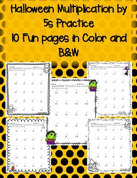 Halloween Multiplication by 5s 5 Times in Color and Black and White