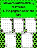 Halloween Multiplication by 8s 8 Times in Color and Black and White
