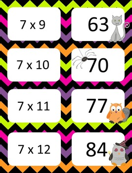 Halloween Multiplication facts (4 - 7)  Concentration & War Card Games