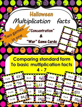 Halloween Multiplication facts (4 - 7)  Concentration & Wa