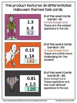 Halloween Math - Multiplying Decimals Digital Task Cards - BOOM Cards