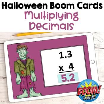 Halloween Math Multiplying Decimals Digital Task Cards BOOM Cards