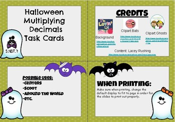 Halloween Multiplying Decimals Task Cards