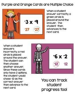 Halloween Math Multiplying & Dividing Integers Digital Task Cards BOOM Cards
