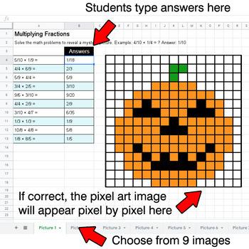 Halloween - Multiplying Fractions - Google Sheets Pixel Art