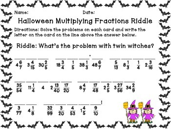 Halloween Multiplying Fractions Riddle