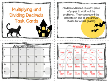 Halloween Multiplying and Dividing Decimals Task Cards
