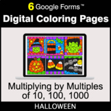 Halloween: Multiplying by Multiples of 10, 100, 1000 - Digital Coloring Pages