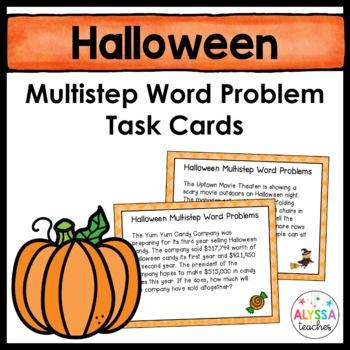 Halloween Multistep Word Problem Task Cards (Grade 4)