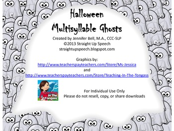 Halloween Multisyllable Ghosts