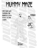 Halloween Mummy Maze and Coloring Worksheets
