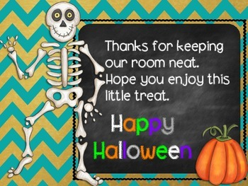 Halloween Custodian Thank You Tags