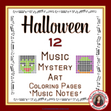 Color By Music Halloween: 12 Music Coloring Sheets: Music Mystery Art